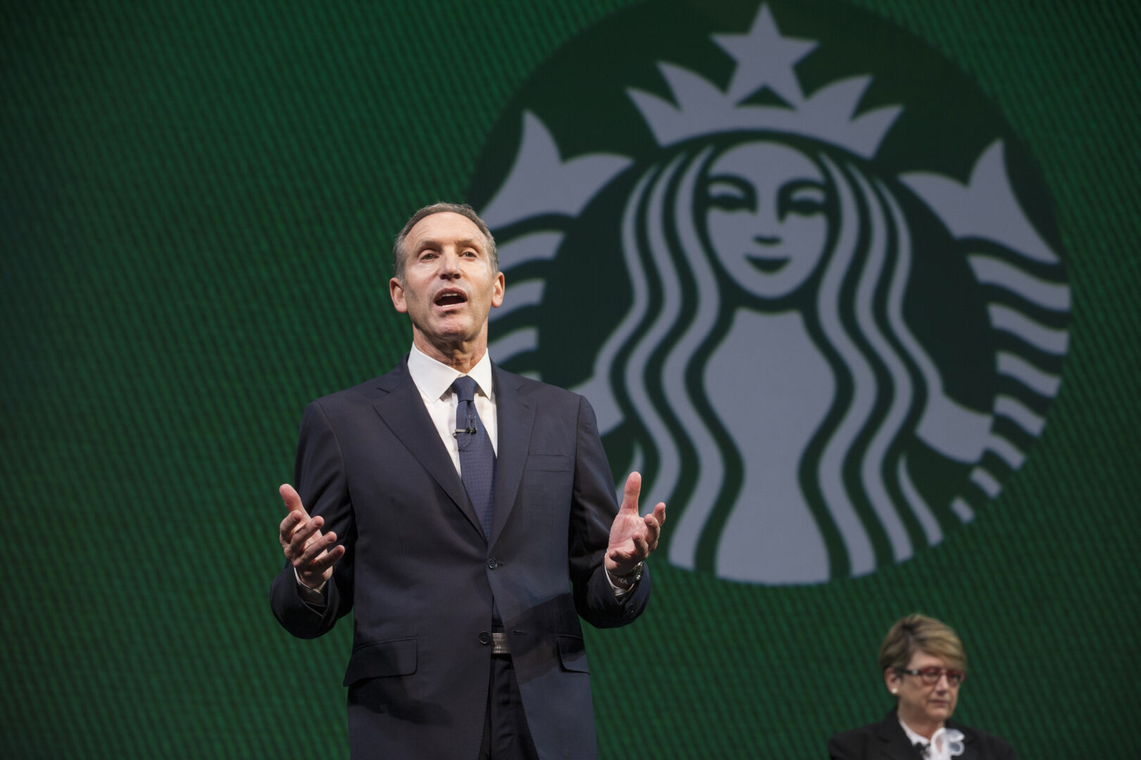 Howard Schultz makes a statement on diversity and equality during a spontaneous exchange at the Starbucks Annual Meeting of Shareholders in 2013