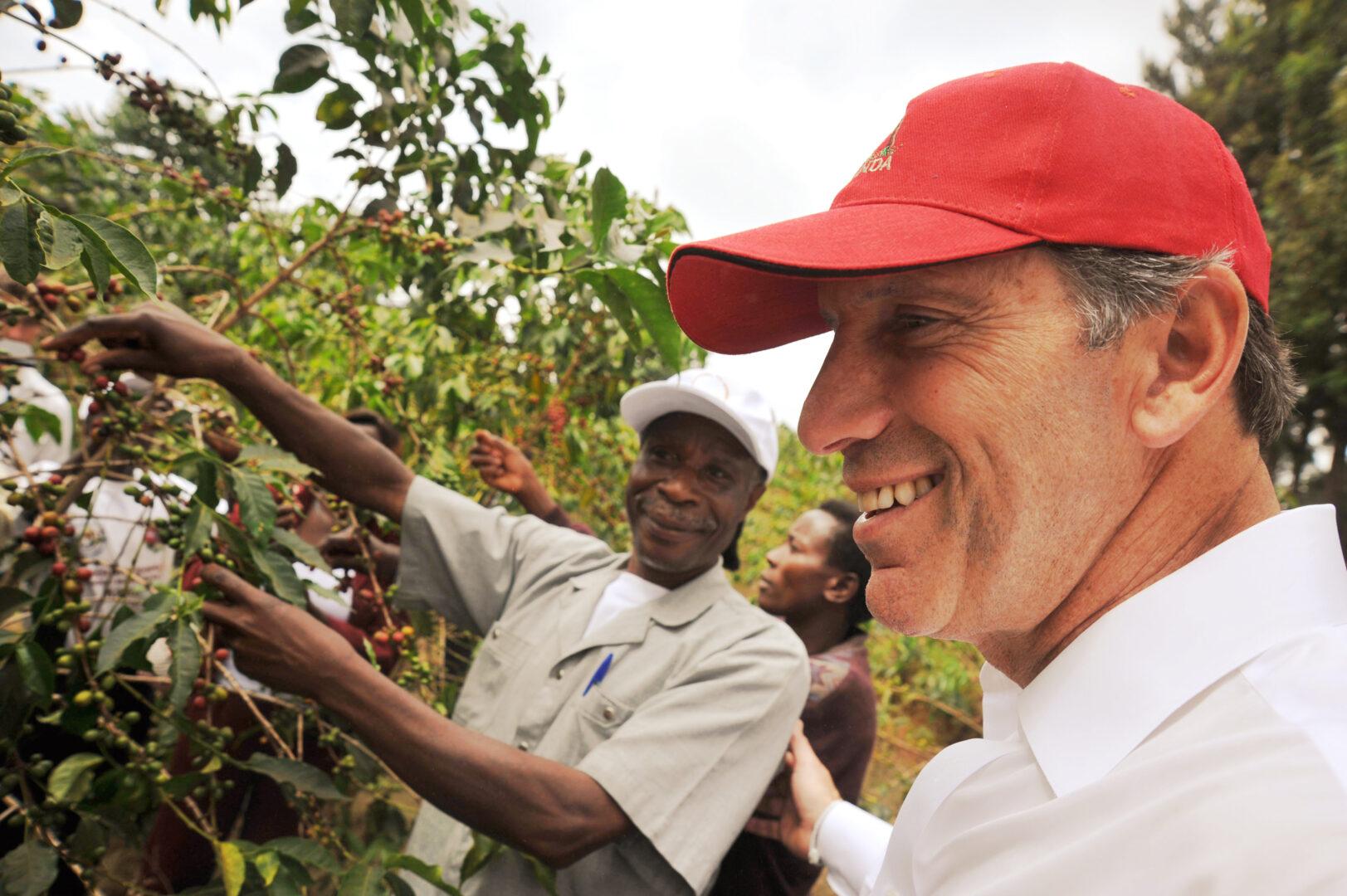 Howard Schultz during a trip to Rwanda