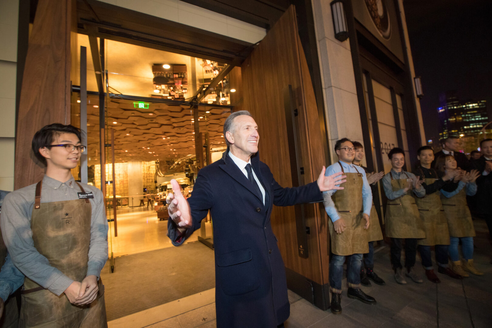 Howard Schultz at the opening of the Starbucks Reserve Roastery in Shanghai