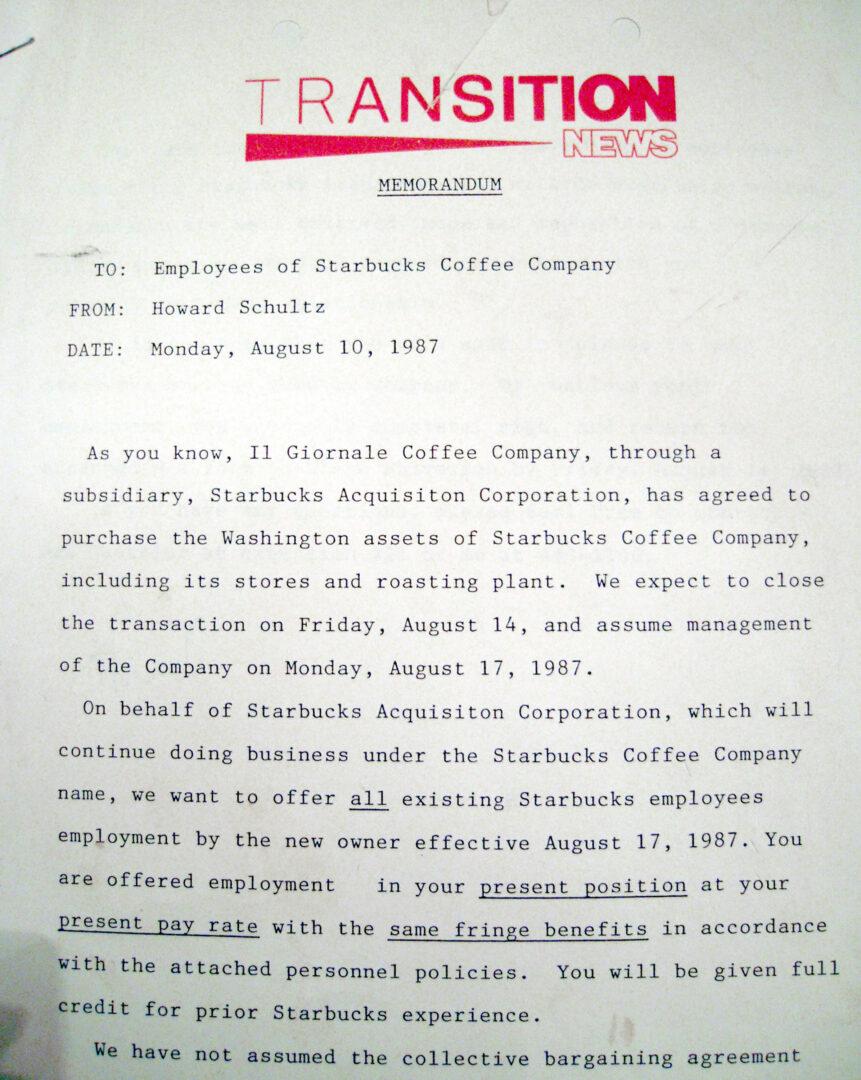 Il Giornale acquires Starbucks Coffee Company