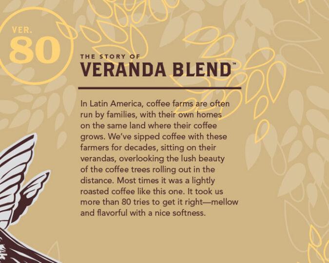 Veranda Blend description on coffee bag
