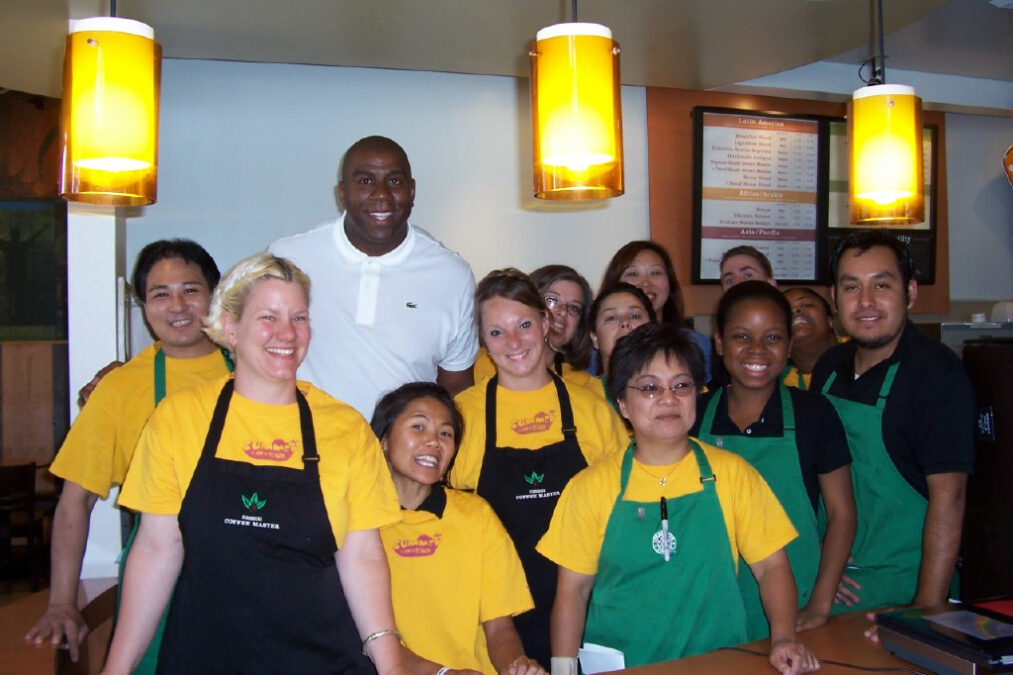 """Earvin """"Magic"""" Johnson at opening of Urban Coffee Opportunities store, Oakland, California"""