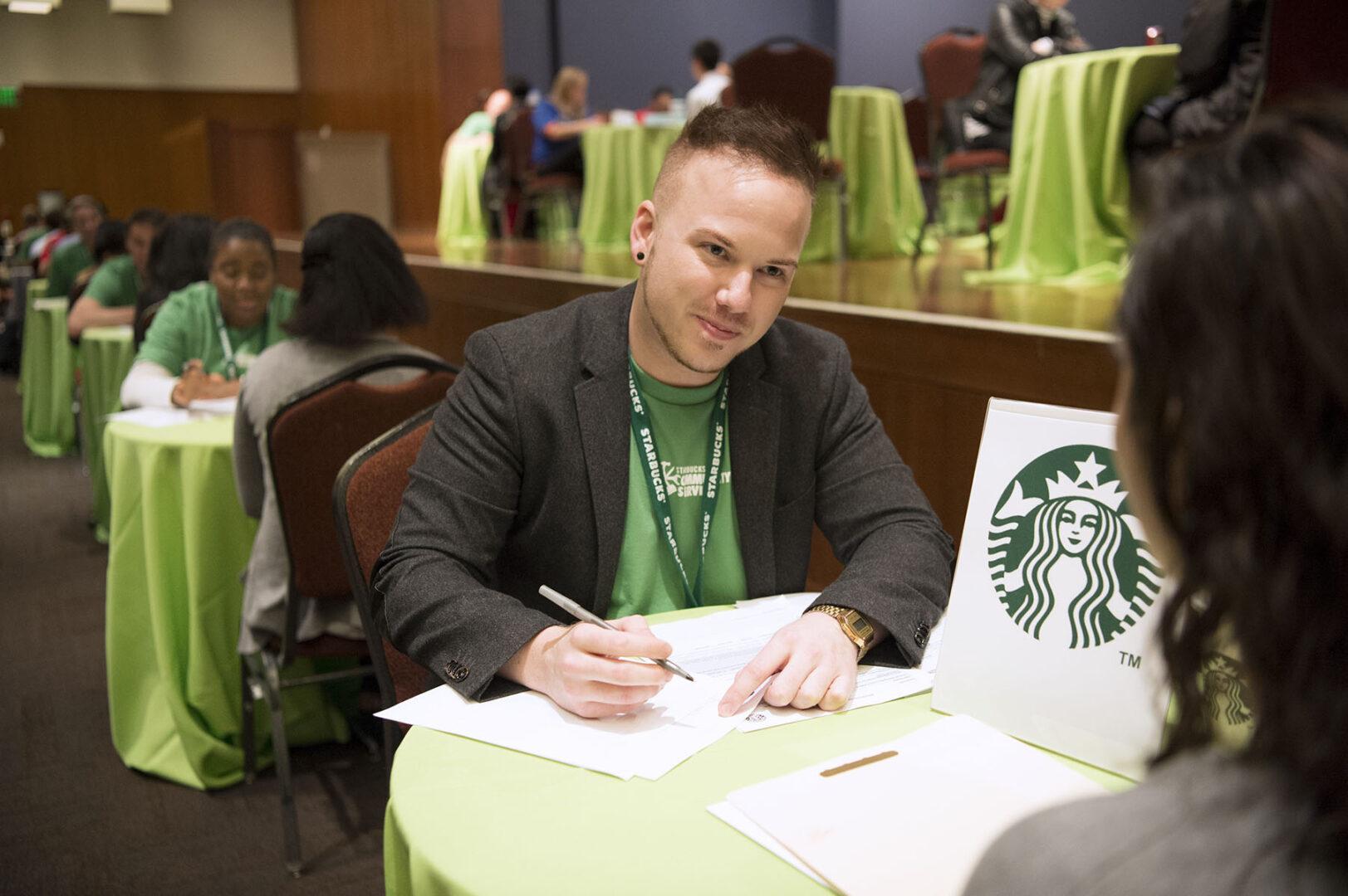 Starbucks Volunteers at Community Service Event